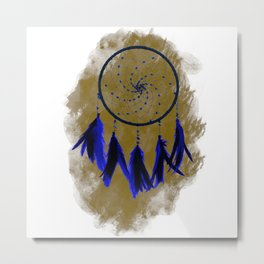 Dreamcatcher Deep Blue Darkness: Sand background Metal Print