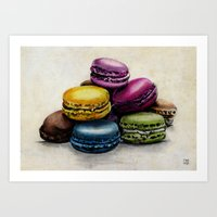 macaroons Art Prints featuring Macaroons by Ink Odyssey