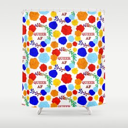 QUEER AF - A Rainbow Floral Pattern Shower Curtain