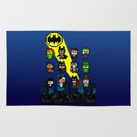 gotham Area & Throw Rugs featuring Gotham Heroes and Villains by CromMorc