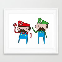 mario bros Framed Art Prints featuring Mario Bros. by Justin Temporal