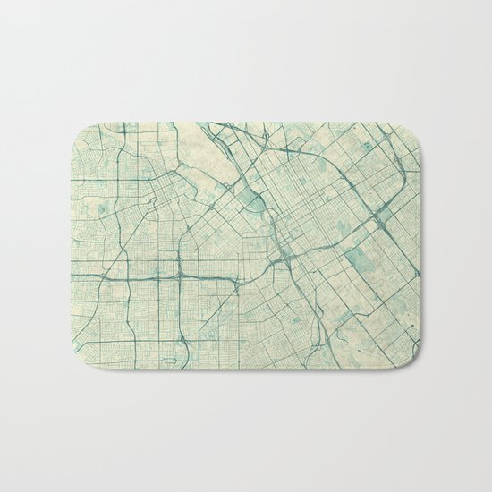 San Jose Map Blue Vintage Bath Mat
