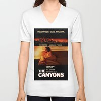 "lindsay lohan V-neck T-shirts featuring Lindsay Lohan ""The Canyons"" French Film Poster by Eric Terino"