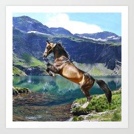 Horse and Lake Art Print