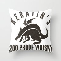 whisky Throw Pillows featuring Keratin's Dragon Distilled Whisky by critjuice