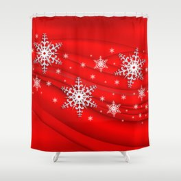 Abstract background with snowflakes Shower Curtain