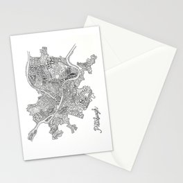 Pittsburgh Neighborhoods - black and white Stationery Cards