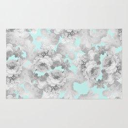 Vintage black white teal stylish chic roses floral Rug