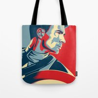 avenger Tote Bags featuring The First Avenger by Olivia Desianti
