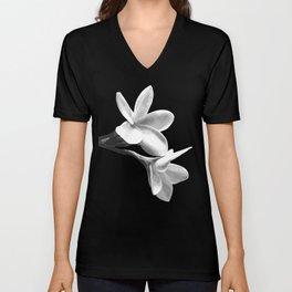 White Flowers Black Background Unisex V-Neck