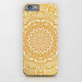 Golden Mustard Yellow Orange Ethnic Mandala Detailed iPhone Case