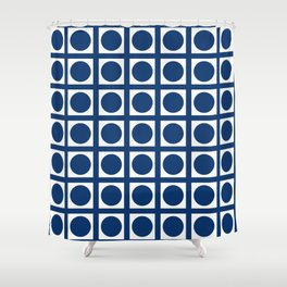 Navy Elegant Grid Dots Shower Curtain
