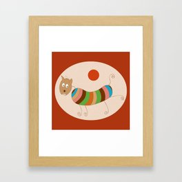 Sausage Dog In Ketchup Sunset Framed Art Print