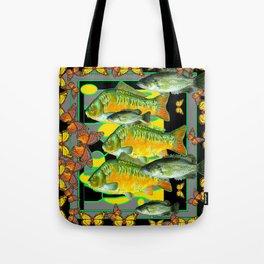 YELLOW & ORANGE MONARCH BUTTERFLIES FISH VIGNETTE Tote Bag