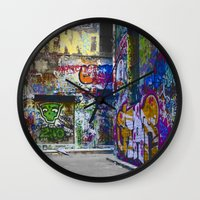 melbourne Wall Clocks featuring Melbourne Graffiti by Another Alex