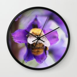 Bumble-bee and larkspur Wall Clock