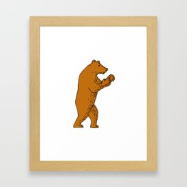 Brown Bear Boxing Stance Drawing Framed Art Print