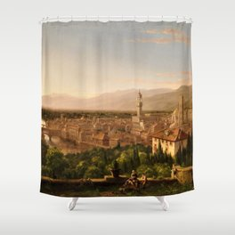 View of the Duomo and Florence, Italy by Thomas Cole Shower Curtain