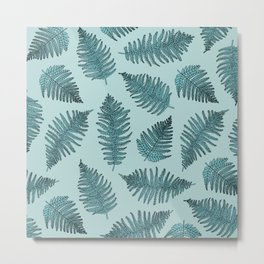 Blue fern garden botanical leaf illustration pattern Metal Print