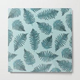 Blue fern garden botanical leaf illustration pattern Metal Print