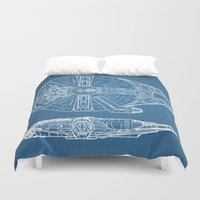 millenium falcon Duvet Covers featuring Millennium II by Vickn