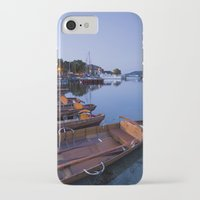 rowing iPhone & iPod Cases featuring Rowing boats at Waterhead at dawn twilight. Lake Windermere, Lake District, Cumbria, UK by liamgrantfoto