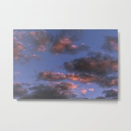 Small scattered clouds illuminated by the sunset sun Metal Print