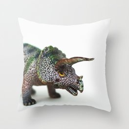 Fine Art Dinosaur Print: Triceratops Throw Pillow