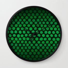Emerald Green Ombre Dots Wall Clock