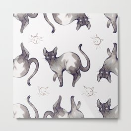 Pattern Cats Metal Print