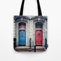 doors Tote Bags featuring The Doors by unaciertamirada