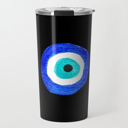 Single Evil Eye Amulet Talisman Ojo Nazar - on black Travel Mug