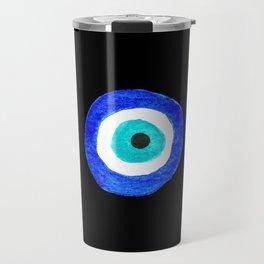 Single Evil Eye Amulet Talisman Ojo Nazar - on black Travel Mug