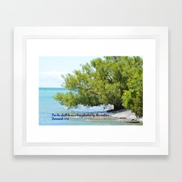 Tree By The Water With Scripture Quote Framed Art Print