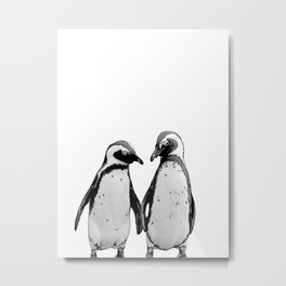 two baby penguin friends Metal Print