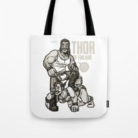 finland Tote Bags featuring Thor of Finland by Randy Meeks