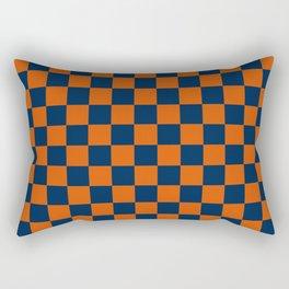 Orange and Navy Colors Checker Pattern Digital Design Rectangular Pillow