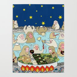 Snow Monkeys in Hot Spa Poster