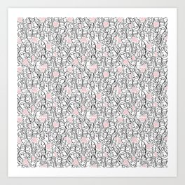 Elios Shirt Faces with Valentine Hearts in Black Outlines with Blush Pink Hearts Art Print