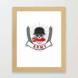 Army Bomb Helmet Skull Badge Framed Art Print