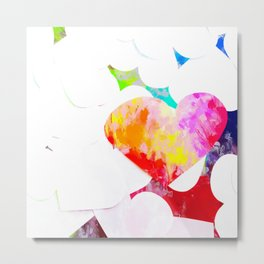 heart shape pattern with red pink blue yellow orange painting abstract background Metal Print
