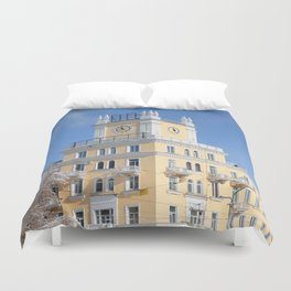 clock on the tower of the building Duvet Cover