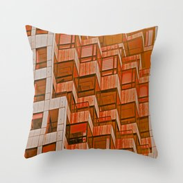 Architectural Abstract in Red Throw Pillow