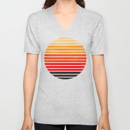 Orange Mid Century Modern Minimalist Scandinavian Colorful Stripes Round Circle Frame Unisex V-Neck