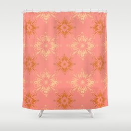 Ornament in Peach and Gold Shower Curtain