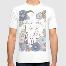 Each Day White MEDIUM Mens Fitted Tee