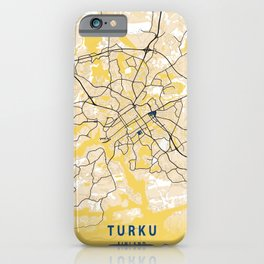Turku Yellow City Map iPhone Case