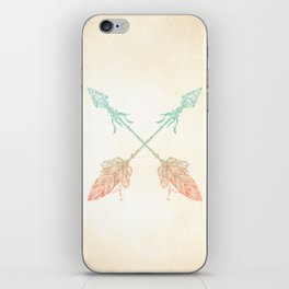 Tribal Arrows Turquoise Coral Gradient iPhone Skin
