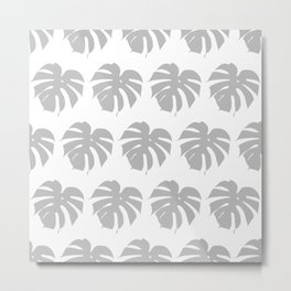 Gray monstera silhouettes on white background. Tropical leaves. Metal Print