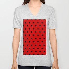 Cha Cha - Black Polka Dots in Red Unisex V-Neck